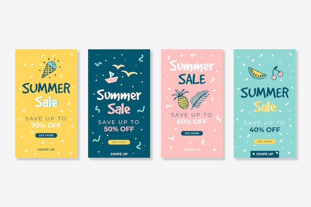 Hola paquete de historia de instagram de rebajas de verano