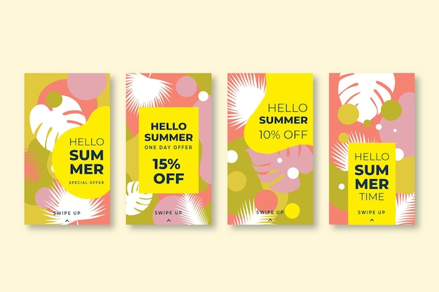 Hola paquete de historias de instagram de rebajas de verano