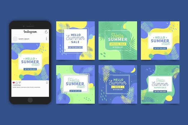 Hola paquete de historias de instagram de venta de verano