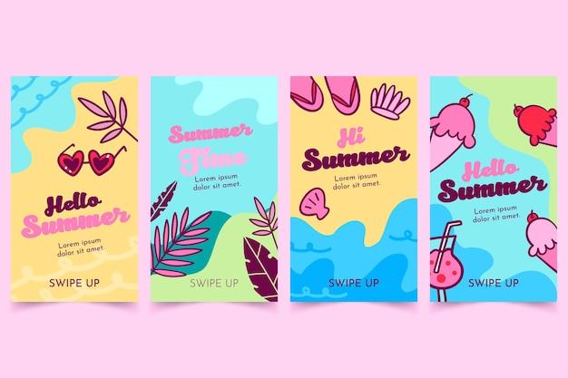 Hola paquete de historias de instagram de verano