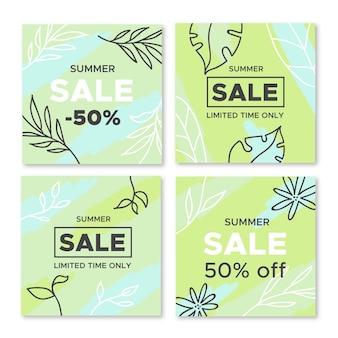Hola paquete de publicación de instagram de venta de verano