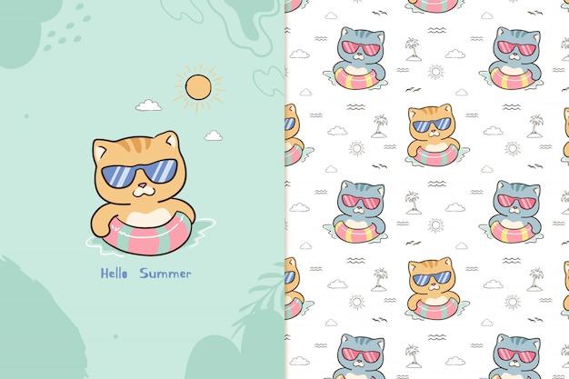 Hola patrón de gato de verano
