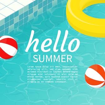 Hola piscina de verano flotador pelota de playa, plantilla de texto