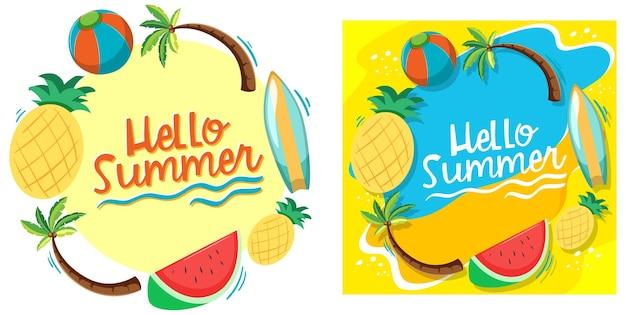 Hola plantilla de banner de verano