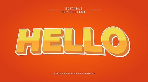 Hola plantilla de efecto de texto editable 3d amarillo