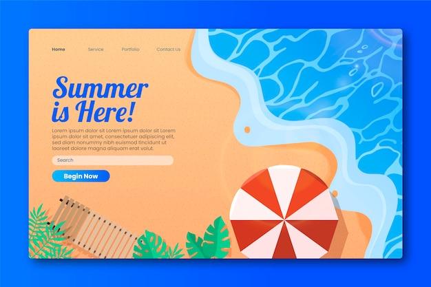 Hola plantilla de página de aterrizaje de verano