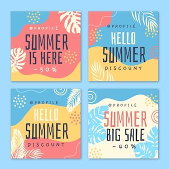 Hola plantilla de publicación de instagram de rebajas de verano