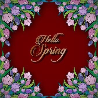 Hola plantilla de tarjeta floral de primavera