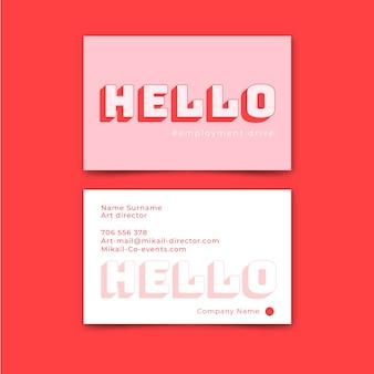 Hola plantilla de tarjeta de visita mínima de texto