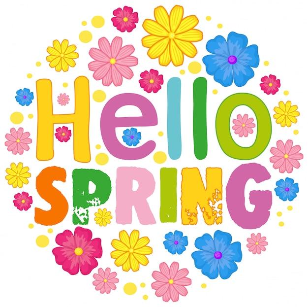 Hola plantilla de texto de primavera