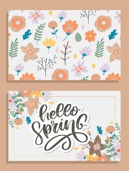 Hola primavera - cita de inspiración dibujada a mano.