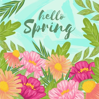 Hola primavera con concepto colorido