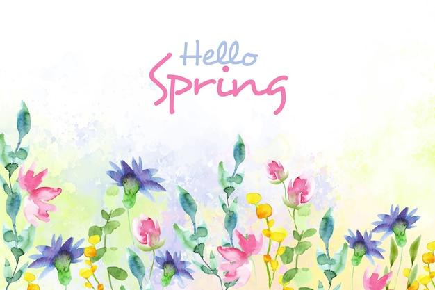 Hola primavera concepto diseño acuarela