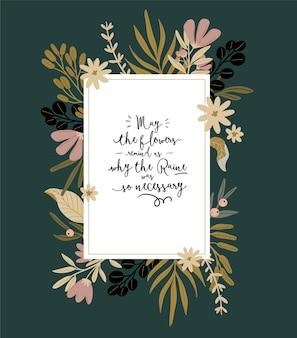 Hola primavera. conjunto botánico con elementos de jardín dibujados a mano, bordes, flores, hojas, letras románticas. buena plantilla para web, tarjeta, cartel, pegatina, banner, invitación, boda. ilustración