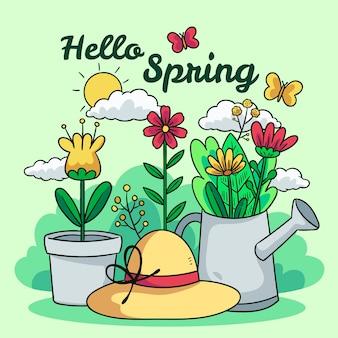 Hola primavera dibujada a mano