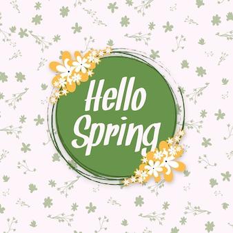 Hola primavera diseño de cartel floral multiusos fondo.