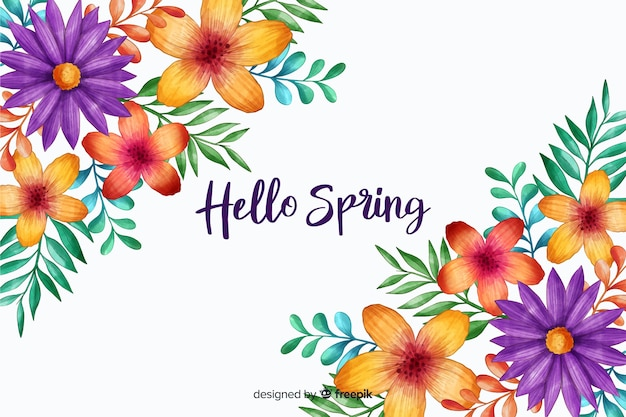 Hola primavera con flores en flor