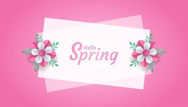 Hola primavera con flores y hojas de papel cortado estilo art