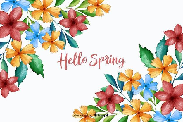 Hola primavera con flores primaverales