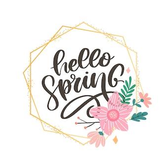 Hola primavera flores texto fondo lema de letterung
