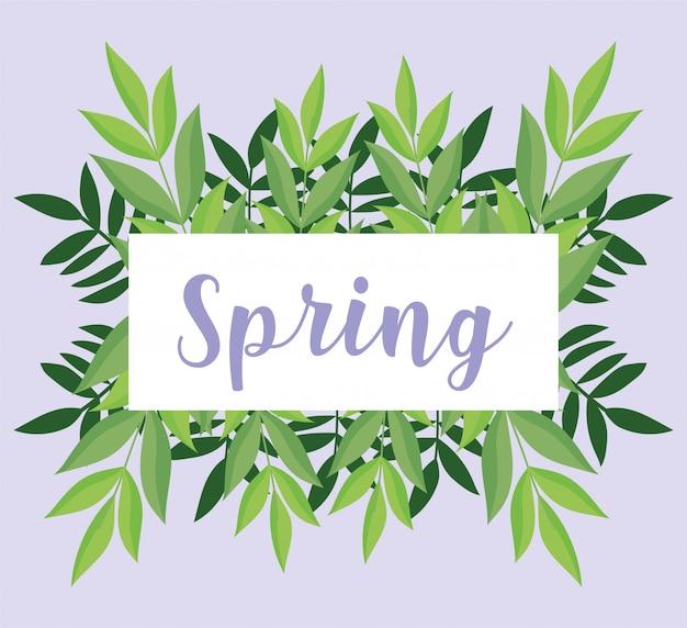 Hola primavera, follaje de banner de hojas deja decoración de adorno