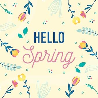 Hola primavera con hermosas flores