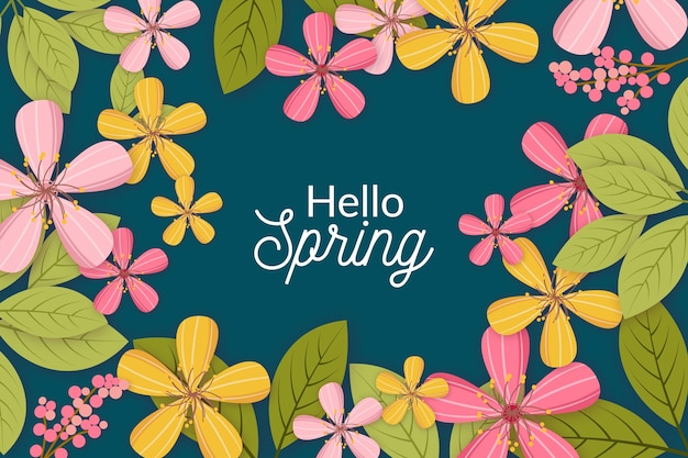 Hola primavera con hojas verdes y flores.