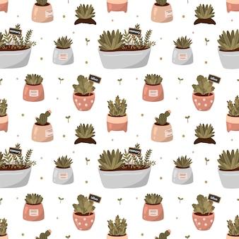 Hola primavera y jardinería patrón sin fisuras con herramientas de jardinería y plantas en macetas en estilo de dibujos animados plana.