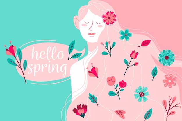 Hola primavera con mujer y flores.