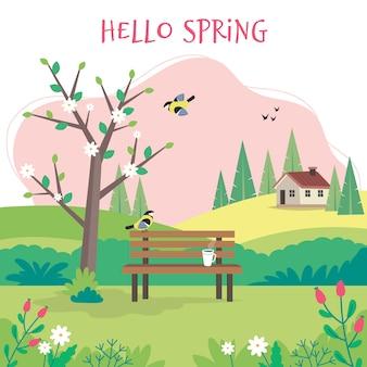 Hola primavera, paisaje con banco, árbol floreciente, casa, campos y naturaleza.