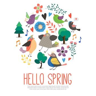 Hola primavera plantilla redonda en estilo plano