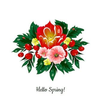 ¡hola primavera! tarjeta