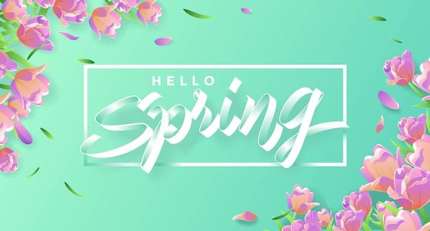 Hola primavera con tulipanes y hojas