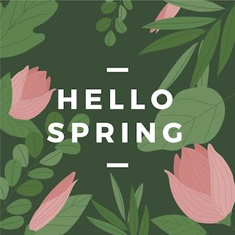 Hola primavera con tulipanes