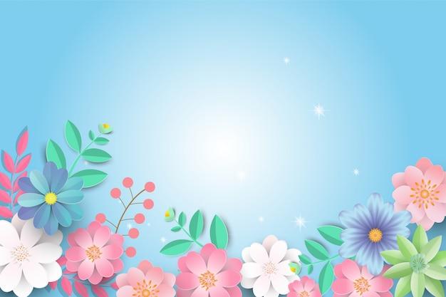 Hola primavera venta de fondo con hermosas flores de papel.