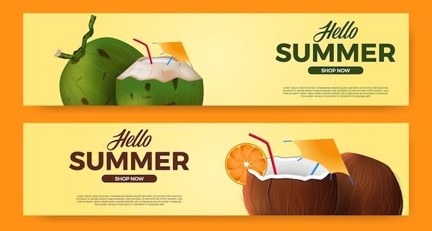 Hola promoción de banner de verano con bebida de coco realista 3d