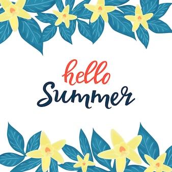 Hola rebajas de verano que anuncian descuentos estacionales. carteles florales o diseño de pancartas con orquídeas amarillas
