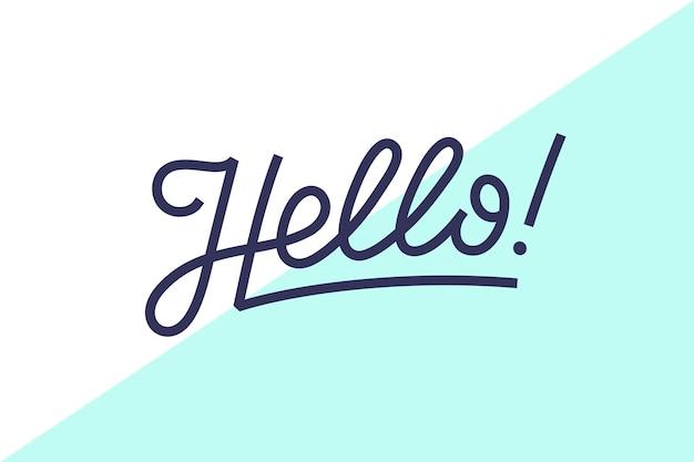 Hola. rotulación para concepto de banner, cartel y pegatina con texto hola.