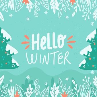 Hola saludo de invierno sobre fondo ilustrado