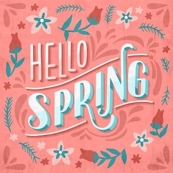 Hola saludo de letras de primavera con rosas y ramas