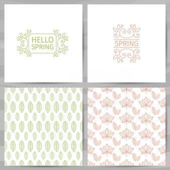 Hola saludos de primavera. tarjeta con patrón de hojas