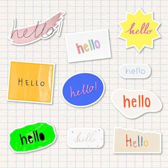 Hola, saludos, tipografía, recursos de diseño de pegatinas