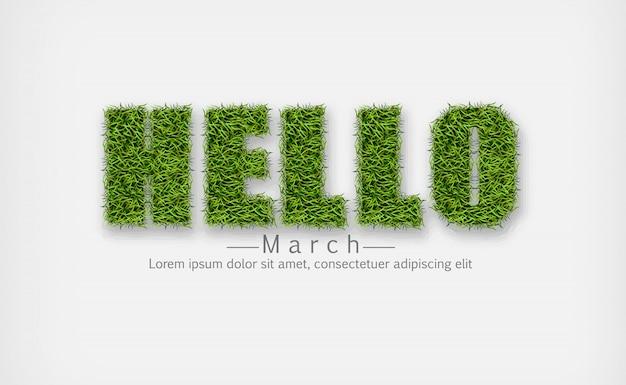 Hola señal en hierba verde