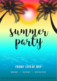 Hola summer beach party flyer y póster. diseño vectorial