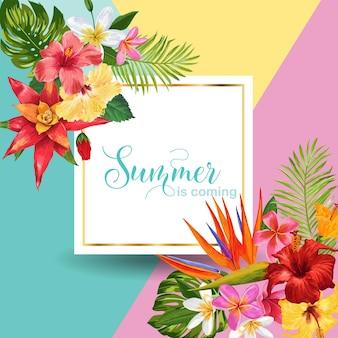 Hola summer tropic design. fondo de flores tropicales de hibiskus para cartel, banner de venta, cartel, folleto. composición floral vintage. ilustración vectorial