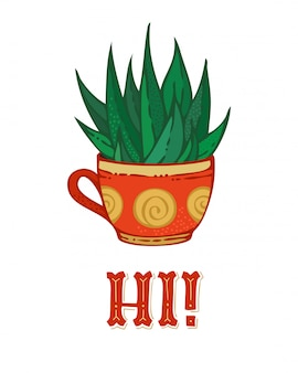 Hola tarjeta de cactus