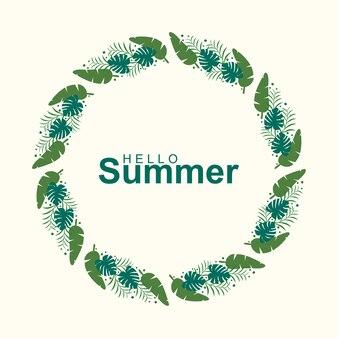 Hola tarjeta de felicitación de verano con corona de flores
