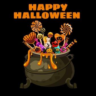 Hola tarjeta de felicitación de halloween con caldero lleno de caramelos y dulces.