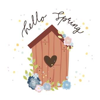 Hola tarjeta de felicitación de primavera, casita para pájaros con un corazón