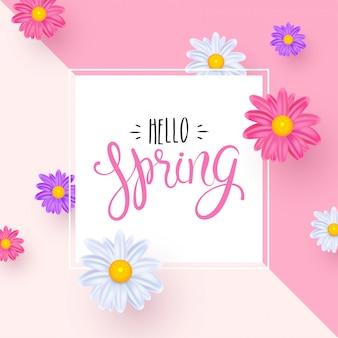 Hola tarjeta de felicitación de primavera